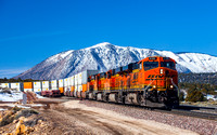 BNSF stacks with the San Francisco Peaks